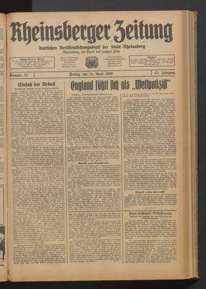 Rheinsberger Zeitung vom 14.04.1939