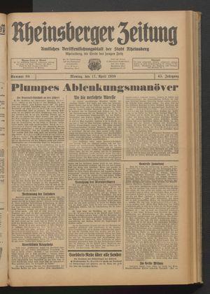 Rheinsberger Zeitung vom 17.04.1939