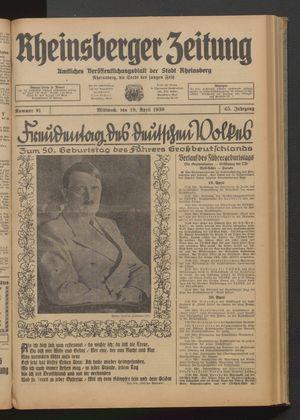 Rheinsberger Zeitung on Apr 19, 1939