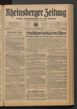 Rheinsberger Zeitung vom 20.04.1939