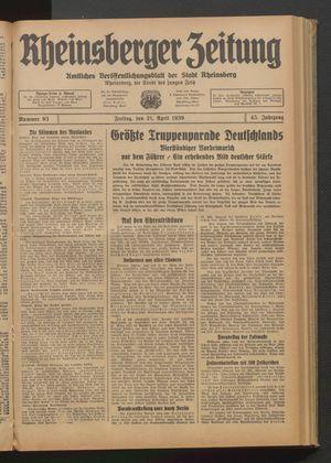 Rheinsberger Zeitung vom 21.04.1939