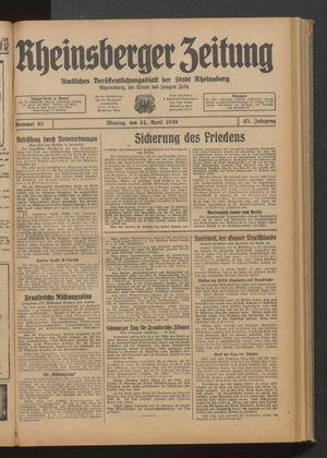 Rheinsberger Zeitung vom 24.04.1939