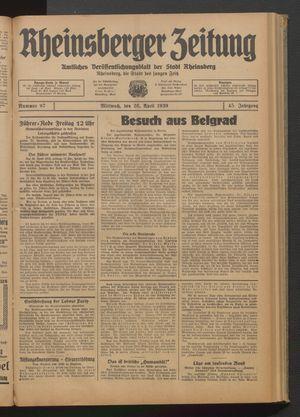 Rheinsberger Zeitung vom 26.04.1939