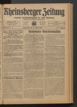 Rheinsberger Zeitung vom 27.04.1939