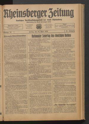 Rheinsberger Zeitung vom 28.04.1939