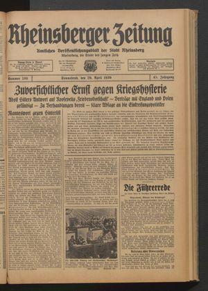 Rheinsberger Zeitung vom 29.04.1939