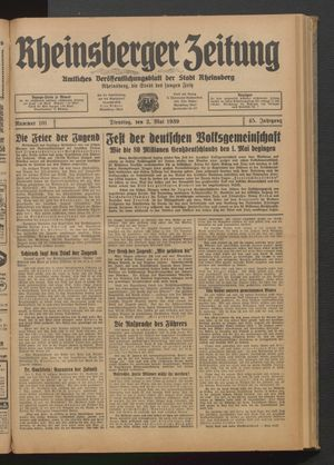 Rheinsberger Zeitung vom 02.05.1939