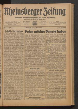 Rheinsberger Zeitung vom 03.05.1939