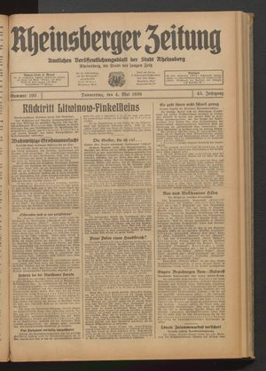 Rheinsberger Zeitung on May 4, 1939