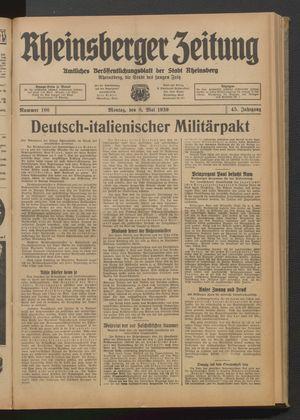 Rheinsberger Zeitung vom 08.05.1939