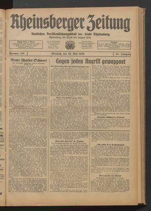 Rheinsberger Zeitung vom 10.05.1939