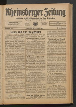 Rheinsberger Zeitung vom 11.05.1939