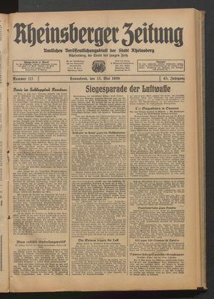 Rheinsberger Zeitung vom 13.05.1939