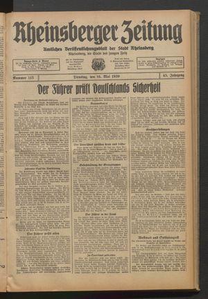 Rheinsberger Zeitung vom 16.05.1939