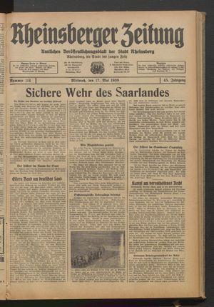 Rheinsberger Zeitung vom 17.05.1939