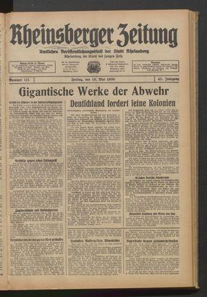 Rheinsberger Zeitung vom 19.05.1939