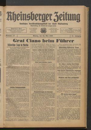 Rheinsberger Zeitung vom 22.05.1939