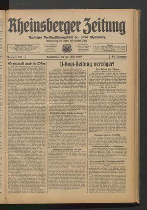 Rheinsberger Zeitung vom 25.05.1939