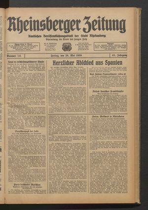 Rheinsberger Zeitung vom 26.05.1939