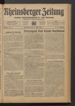 Rheinsberger Zeitung on May 27, 1939