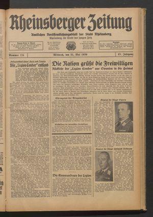 Rheinsberger Zeitung vom 31.05.1939