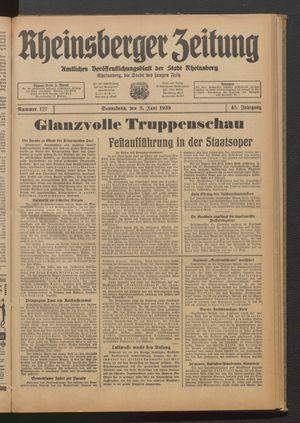 Rheinsberger Zeitung vom 03.06.1939
