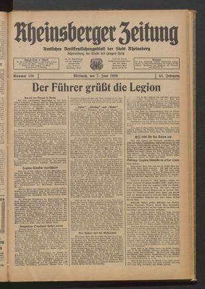 Rheinsberger Zeitung vom 07.06.1939
