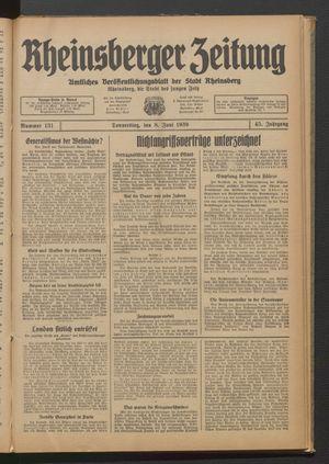 Rheinsberger Zeitung vom 08.06.1939