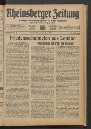 Rheinsberger Zeitung vom 10.06.1939