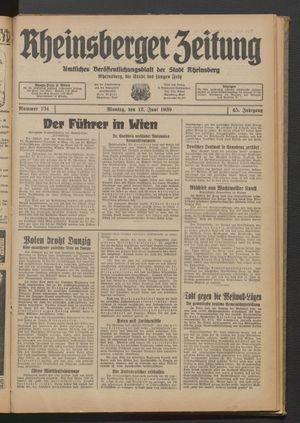 Rheinsberger Zeitung vom 12.06.1939