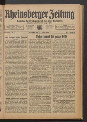 Rheinsberger Zeitung vom 14.06.1939