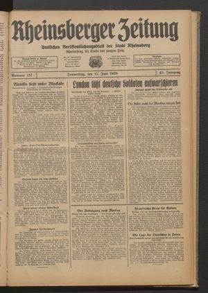 Rheinsberger Zeitung vom 15.06.1939