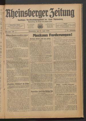 Rheinsberger Zeitung vom 17.06.1939