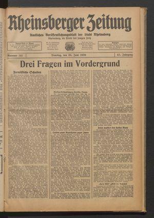 Rheinsberger Zeitung vom 20.06.1939