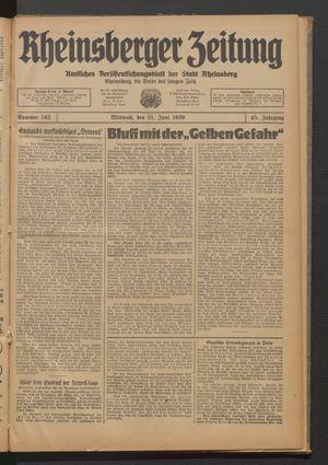 Rheinsberger Zeitung vom 21.06.1939