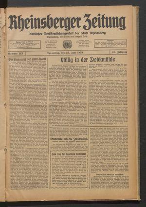 Rheinsberger Zeitung vom 22.06.1939