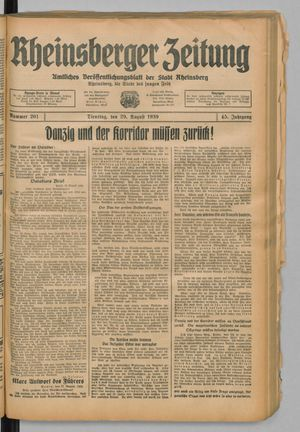 Rheinsberger Zeitung vom 29.08.1939