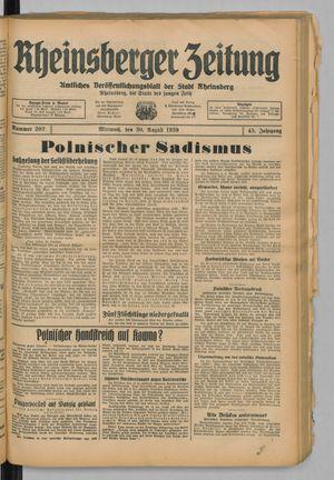Rheinsberger Zeitung vom 30.08.1939
