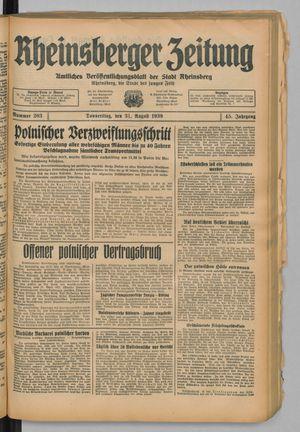 Rheinsberger Zeitung vom 31.08.1939