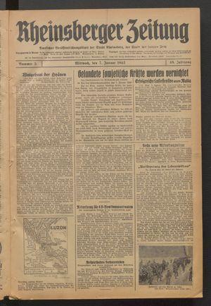 Rheinsberger Zeitung vom 07.01.1942