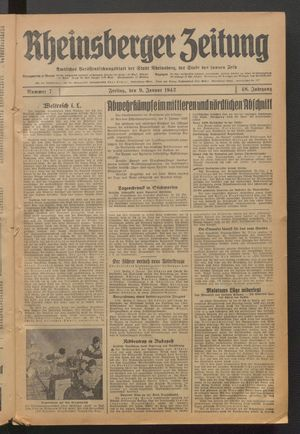 Rheinsberger Zeitung vom 09.01.1942