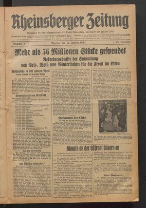 Rheinsberger Zeitung vom 12.01.1942