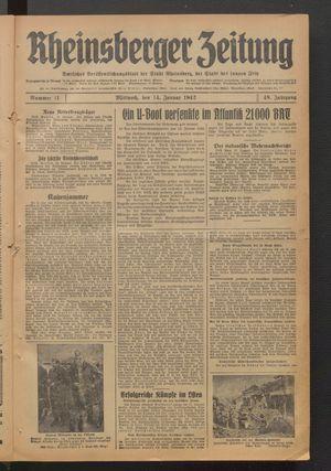 Rheinsberger Zeitung vom 14.01.1942