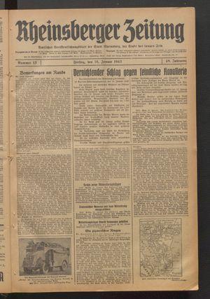 Rheinsberger Zeitung vom 16.01.1942