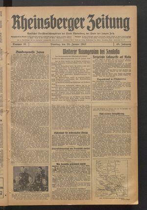 Rheinsberger Zeitung vom 20.01.1942
