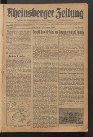 Rheinsberger Zeitung vom 27.01.1942