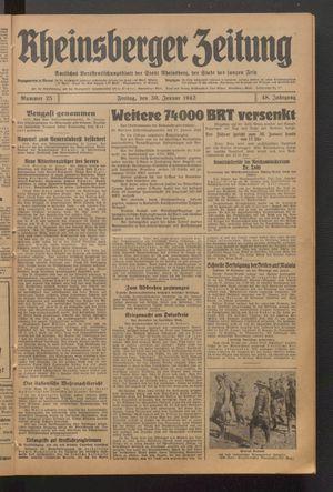 Rheinsberger Zeitung vom 30.01.1942