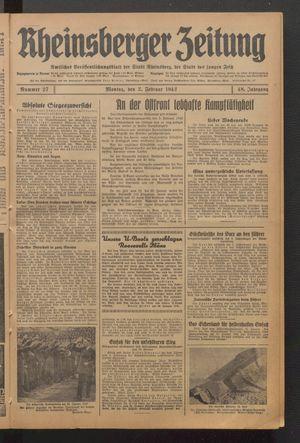 Rheinsberger Zeitung vom 02.02.1942