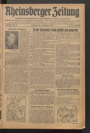 Rheinsberger Zeitung vom 03.02.1942