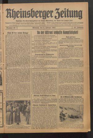 Rheinsberger Zeitung vom 04.02.1942